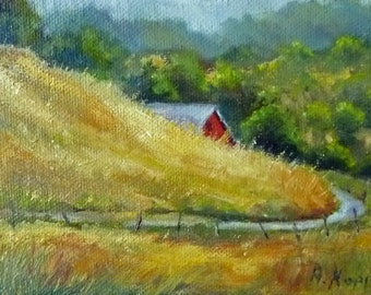 AROUND THE BEND   4x6 inch oil painting by Alexandra Kopp