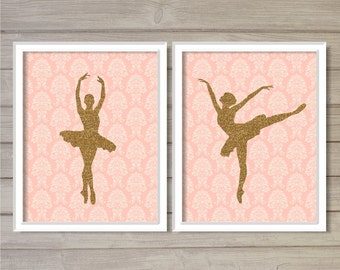 Ballerina Pink Damask Gold Glitter Wall Art Printable Instant Download -Set of 2 8x10 - Ballet Dance Pirouet Nursery Dancer Room Decor Print