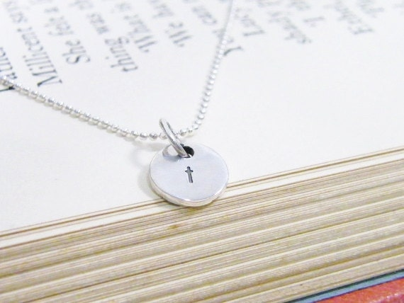 mustard seed faith sterling silver hand stamped cross necklace shiny finish