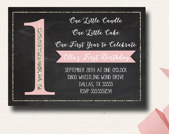 1st First Birthday Invitation Glitter Girl Pink Gold One Little Candle Chalkboard