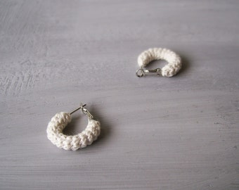 Off White Small Earrings, Mini Crochet Tube Hoops, 20 mm hoops, Simple Minimalist Everyday Jewelry, gift for her