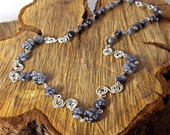 Snowflake Obsidian and Silver Necklace