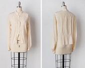 vintage 1930s blouse / 1930s silk top / cream silk blouse / Pointed Silk top