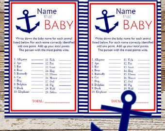 Nautical Baby Animal Game Baby Shower ~ Instant Download Name that Baby Game, Nautical Name the Baby Nautical Game Anchor Card BS350
