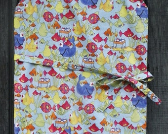 FISHY NURSES PRINT Apron, Chef Style with Adjustable Ties