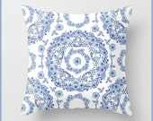 Classic Blue and White floral design pillow cushion home decor watercolour design pattern by Maine artist Patricia Shea