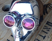 STEAMPUNK MASK - Chrome 'I ROBOT' Inspired Steampunk Masquerade Mask & Steampunk Goggles Set Combination - Burning Man Mask