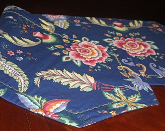 Elegant Table Runner Decorator Fabric Rich Navy Tropical Floral Ferns Wine Rose Pink Green Yellow Reversible