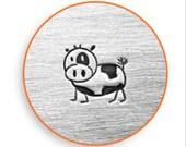 "Metal Stamp-""Moo""- Cow Metal Design Stamp ImpressArt- 6 mm Metal Stamping Tool-Steel Stamp-Metal Supply Chick"