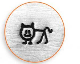 Cat Stick Figure Metal Stamp ImpressArt- 6 mm  Metal Design Stamp-Perfect for Your Hand Stamping Needs-Steel Stamps