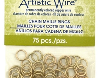 Brass Jump Rings 18g 15/64 inch BRASS -75 pieces by Artistic Wire-Non Tarnish Brass-Metal Supply Chick Jewelry Supplies