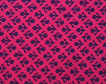 small dark purple floral Motif Print on pink - Indian Printed Cotton Fabric - 1 yard - ctbl029