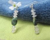 True Love, Emerald and Rose Quartz Sterling Silver Earrings, Healing Stone Earrings, Goodness Jewelry