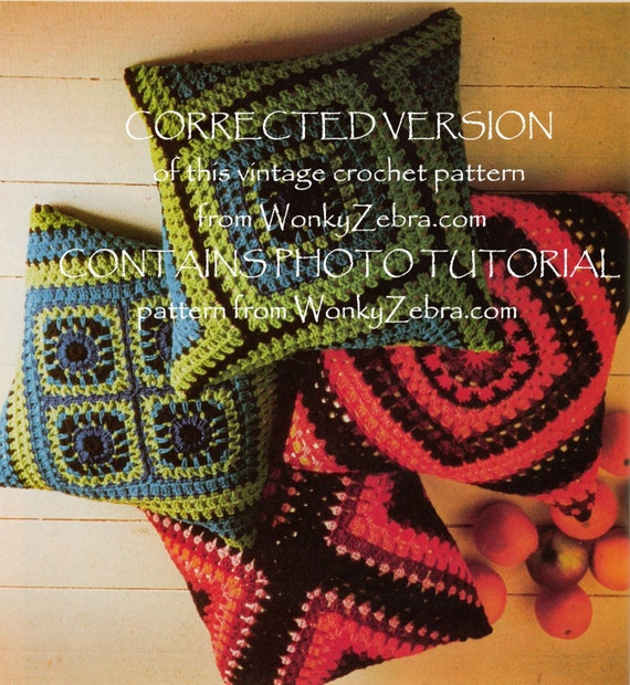 Vintage Crochet Pattern 201 PDF Granny Square Pillows from WonkyZebra