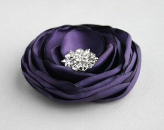 Purple Flower Hairpiece, Dark Purple Flower Hair Clip, Eggplant Floral Hair Piece, Bridesmaid Headpiece, Flower Hair Pin, Purple Flower Girl
