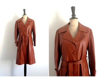 Midi length Jacket Leather Cognac Vintage 1970s / Trench coat Leather Brown 70s / Size M