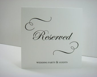 Wedding Reserved Reception Sign Tent Design with Elegant Swirls and Script Font Prepared with Your Custom Wording