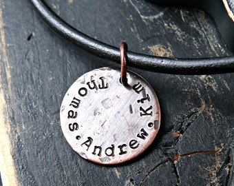 Rustic Textured Mens Custom Necklace - Personalized Fathers Necklace - Hand Stamped Copper Necklace - Fathers Day Jewelry