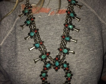 Vintage turquoise coral Squash blossom necklace