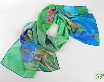 Hand Painted Silk Scarf, Irises and Butterfly scarf, Turquoise Blue Scarf, Floral Scarf, Women Silk Scarf, Iris batik, Gift for Her Birthday