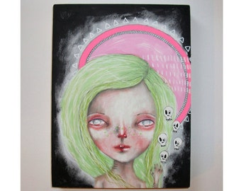 folk art Original girl painting whimsical mixed media art painting on wood canvas 8x6 inches - Voodoo Moon