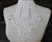 Cute venice applique ivory color with sparkles 1 pieces listing 5 inches wide at the neck 10 inches wide at the middle