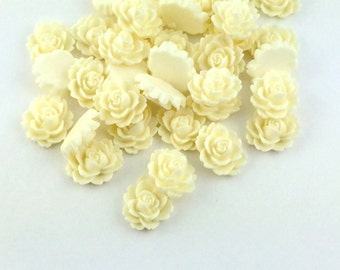 White Cabochon Wholesale Flowers - Wholesale Lot Cabochon White Rose Cabochon 100pcs