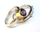 Set wedding band ring  Engagement Ring Similar diamond  - Fine 14k gold Amethyst Gemstone MADE TO ORDER
