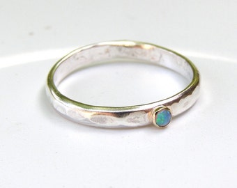 Handmade Angagement ,Gemstone Blue Opal Ring - Silver Ring and 14k Gold Ring Statement ring,Cocktail ring opal stone MADE TO ORDER