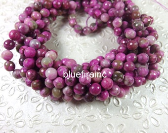 48 pcs facted Purple color round agate beads in 8mm