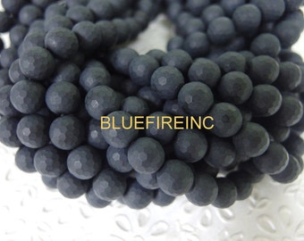32pcs  12mm round faceted Matte Finished Blacy Onyx Beads in Full strand