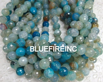 32 pcs 12mm multi  color faceted round agate beads