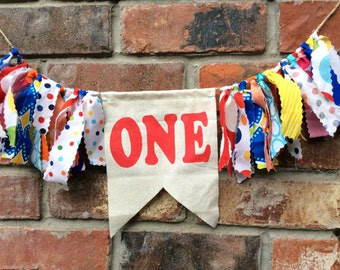 Fabric High Chair banner Birthday Decoration Bunting Flags Rag Garland First Birthday Decoration Circus Flags High Chair Bunting