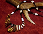 RESERVED - Eyes of Fire - Tigereye and bone necklace