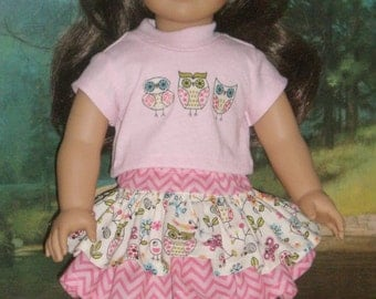 Pink Ruffled Skirt Owl Tee Shirt 18 inch doll clothes