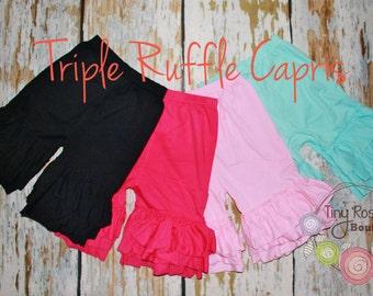 Triple Ruffle Knit Capris, Girl's Knit Short Pants - Black Ruffle Capris