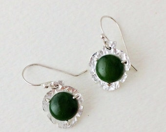 Jade Hammered Earrings, Sterling Silver, Handmade, Dangle, Metalwork, Natural Green Gemstone