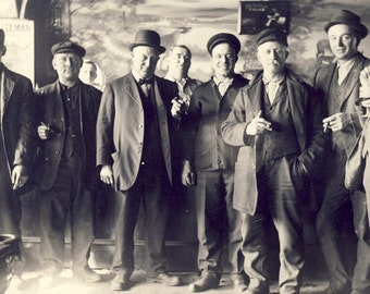 Nothing Like Hanging Out With The Boys SMOKING a CIGAR and Having a Beer Photo Circa 1910s