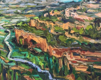 "View from Siurana Spain 18""x18"" original painting acrylic on canvas"