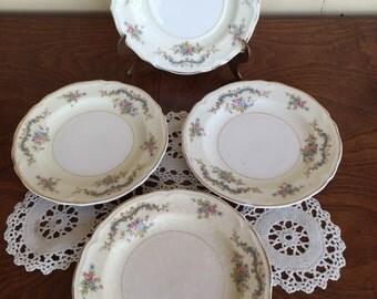 Set of Four Bread Plates Edwin Knowles China Pink Rose Pattern