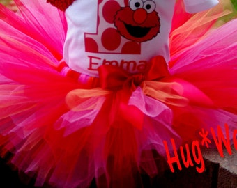 Birthday Elmo Tutu  Red hot pink orange (Tutu only)
