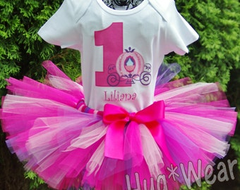 Personalized Birthday Princess Cinderella Carriage Shirt + Tutu Set Outfit (any age) pink and purple