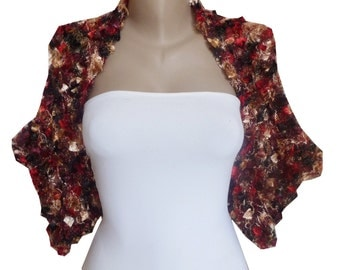 Knit Multicolor Bolero Shrug Sleeves Wrap, Weddings bolero, size: M-L, Evening bolero, Bridal Bridesmaid