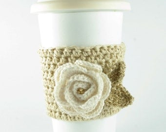 CHRISTMAS SALE --- White and Gold Flower Coffee Cozy