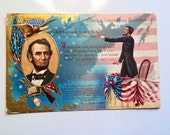 Abraham Lincoln Antique Post Card Presidential Memorabillia Paper Ephemera