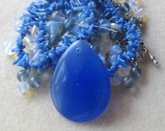 Sky Blue Quartz Pendant, Coral Beads, Opalite Beads, Bead Combo, Necklace Design, Craft Supplies, DIY Jewelry Kit, Bead Kit