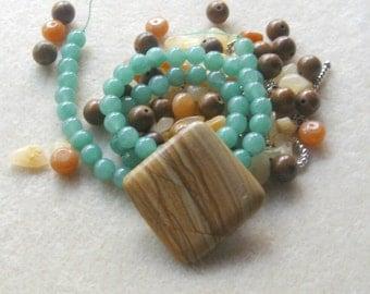 Wood Jasper, Aventurine Beads, Aragonite Beads, DIY Jewelry Kit, Gemstone Beads, Gemstone Pendant, Craft Supplies, Jewelry Making Beads