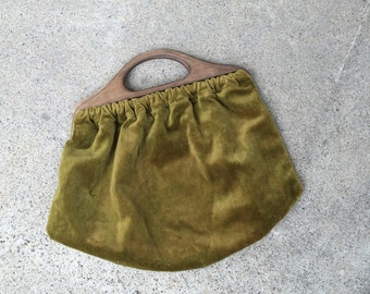 Green Velvet Handbag 60s Vintage Top Handle Fabric Purse Small Carpet Bag
