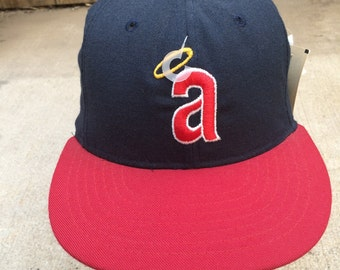 70s California Angels Fitted MLB Baseball Cap 90s Vintage Cooperstown Collection Roman 7 1/8 wool cap NOS Deadstock