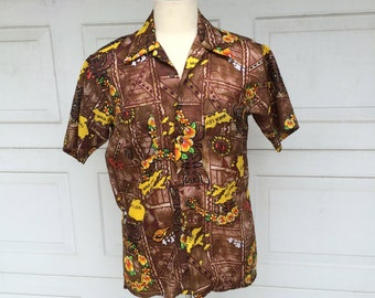 Waikiki Holiday 70s Vintage Hawaiian Shirt Brown Yellow Tropical Print Fiji Shirt Men Medium